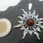 Large Sterling Silver Cognac Amber Sun Pendant
