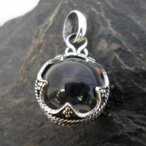 Small Sterling Silver Clear Rock Crystal Quartz Sphere Pendant