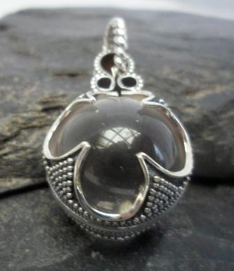 Sterling Silver Rock Crystal Quartz Sphere Pendant