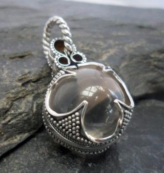 Sterling Silver Rock Crystal Quartz Sphere Pendant