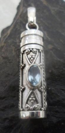Sterling Silver Blue Topaz Cremation Pendant
