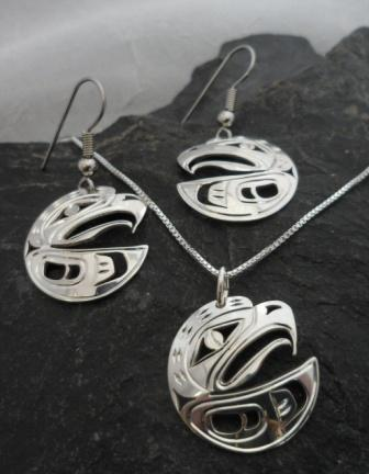 Vincent Henson Sterling Silver Eagle Earrings and Necklace set