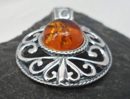 Large Ornate Sterling Silver Cognac Amber Pendant