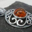 Large Ornate Sterling Silver Cognac Amber Pendant