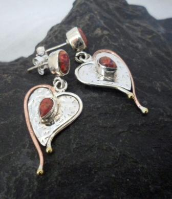Sterling Silver, Copper, Brass Lab Fire Opal Heart Earrings