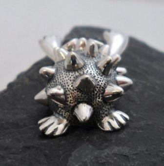 Sterling Silver Hedgehog Garnet Pendant