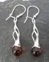 Sterling Silver Long Drop Amber Earrings