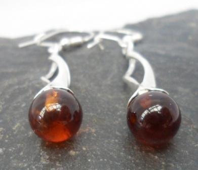 Sterling Silver Long Drop Amber Earrings