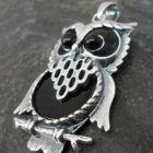 Sterling Silver Onyx Owl Pendant