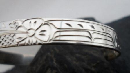 Vincent Henson Sterling Silver Native Hummingbird Cuff Bracelet