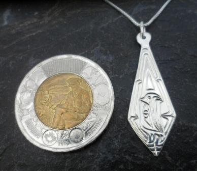 Vincent Henson Sterling Silver Engraved Native Eagle Necklace