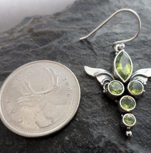 Sterling Silver Peridot Guardian Angel Wings Earrings