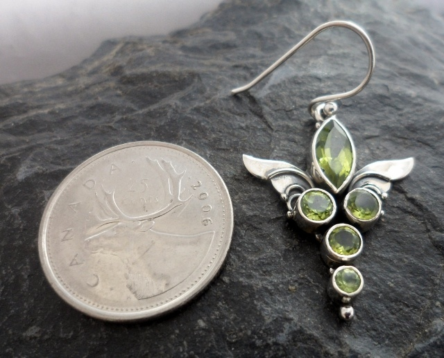 Sterling Silver Peridot Guardian Angel Wings Earrings