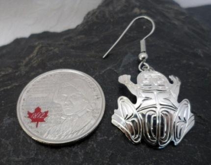 Vincent Henson Sterling Silver Engraved Native Frog Earrings