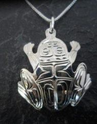 Vincent Henson Sterling Silver Engraved Native Frog Necklace