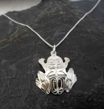 Vincent Henson Sterling Silver Engraved Native Frog Necklace