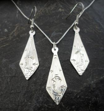 Vincent Henson Sterling Silver Engraved Native Eagle Necklace and Earrings