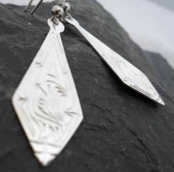 Vincent Henson Sterling Silver Native Engraved Eagle Earrings