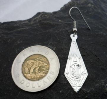 Vincent Henson Sterling Silver Native Engraved Eagle Earrings
