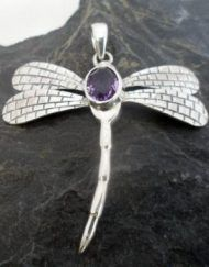 Sterling Silver Amethyst Dragonfly Pendant