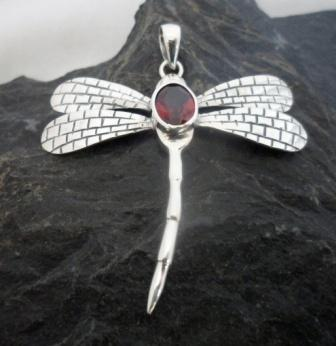 Sterling Silver Garnet Dragonfly Pendant