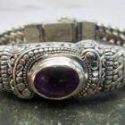 Ornate Balinese Sterling Silver Amethyst Bracelet