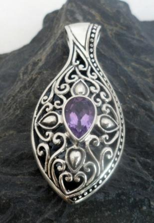 Ornate Sterling Silver Marquis Shaped Amethyst Pendant