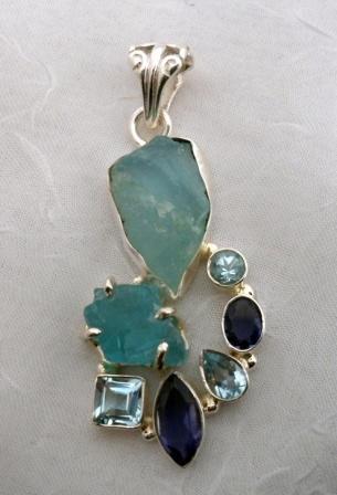 Sterling Silver Aquamarine, Iolite, Blue Topaz Pendant