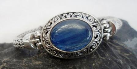 Sterling Silver Kyanite Wheat Link Bracelet