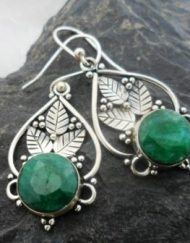 Sterling Silver Emerald Leaf Earrings