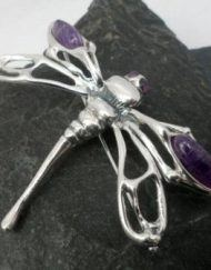 Large Sterling Silver Amethyst Dragonfly Brooch-Pendant