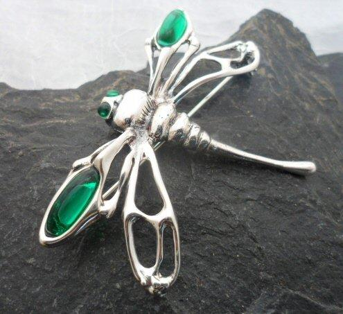 Large Sterling Silver Lab Created Emerald Dragonfly Brooch-Pendant