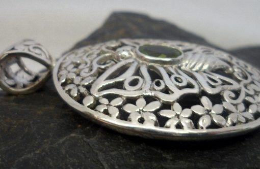 Large Oval Filigree Sterling Silver Peridot Butterfly Pendant