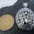 Large Oval Filigree Sterling Silver Peridot Butterfly Pendant