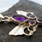 Sterling Silver Amethyst Guardian Angel Wings Pendant