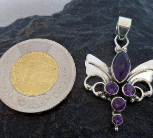 Sterling Silver Amethyst Guardian Angel Wings Pendant