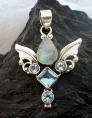 Sterling Silver Moonstone, Blue Topaz Guardian Angel Wings Pendant