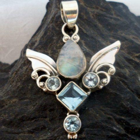 Sterling Silver Moonstone, Blue Topaz Guardian Angel Wings Pendant