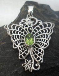 Sterling Silver Peridot Butterfly Pendant