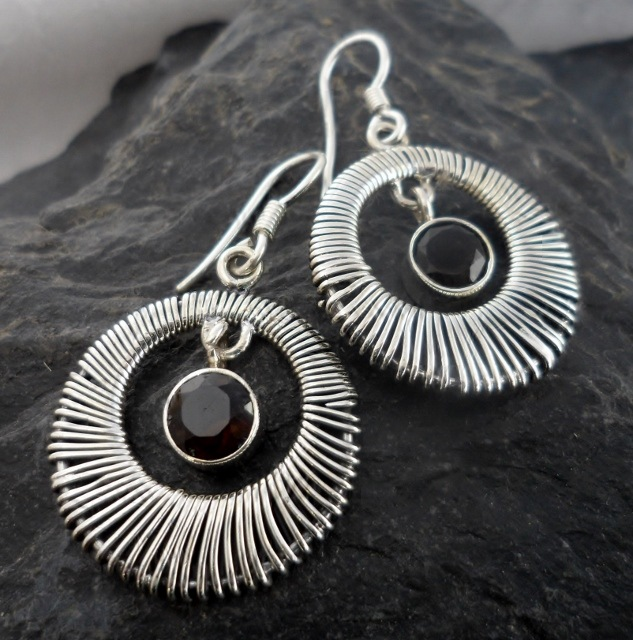 Sterling Silver Wire Wrapped Red Garnet Earrings