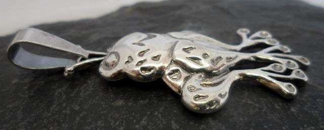 Large Character Sterling Silver Frog Pendant