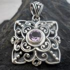 Ornate Sterling Silver Amethyst Pendant