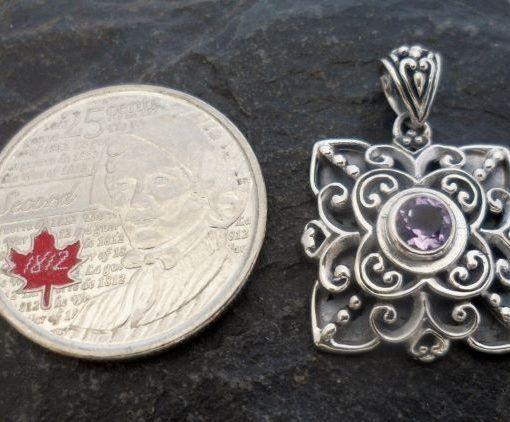 Ornate Sterling Silver Amethyst Pendant