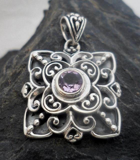 Ornate sterling silver amethyst pendant double dragon jewelry ltd ornate sterling silver amethyst pendant aloadofball Gallery