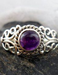 Sterling Silver Celtic Amethyst Ring size 8