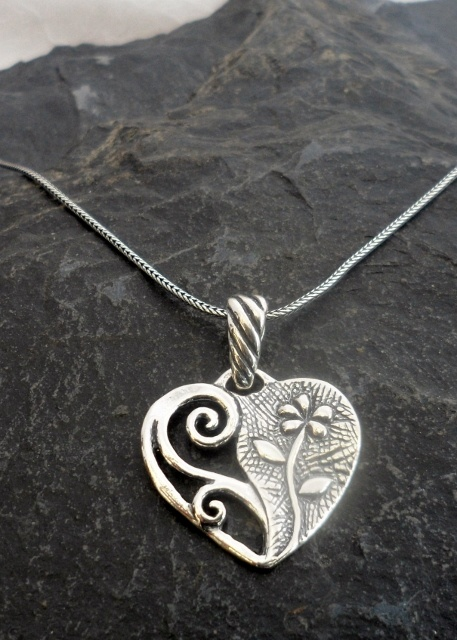 Sterling Silver Flower Heart Necklace