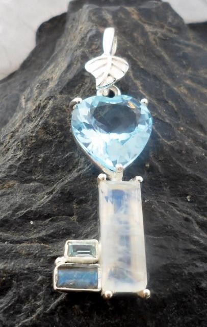 Sterling Silver Gemstone Heart Key Pendant