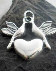 Sterling Silver Heart Pendant with Two Doves