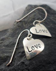 Sterling Silver Heart Love Earrings